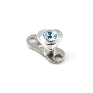 Coeur Strass Bleu Turquoise pour Piercing Microdermal