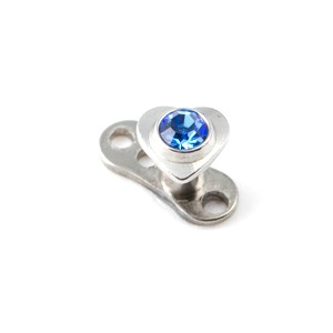 Coeur Strass Bleu Marine pour Piercing Microdermal