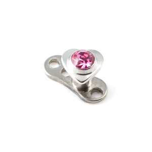 Coeur Strass Rose pour Piercing Microdermal
