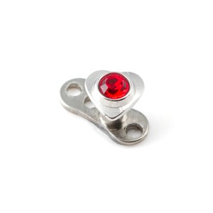 Coeur Strass Rouge pour Piercing Microdermal