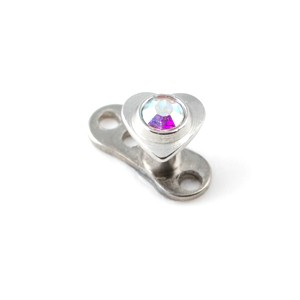 Coeur Strass Multicolore pour Piercing Microdermal