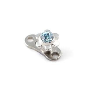 Fleur Strass Bleu Turquoise pour Piercing Microdermal