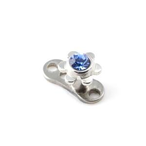 Navy Blue Strass Flower Top for Microdermal Piercing