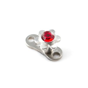 Fleur Strass Rouge pour Piercing Microdermal