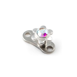 Fleur Strass Multicolore pour Piercing Microdermal