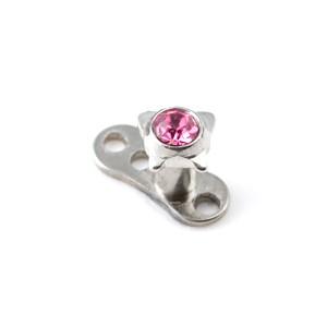 Strassstein Schmetterling Rosa für Microdermal Piercing / Dermal Anchor