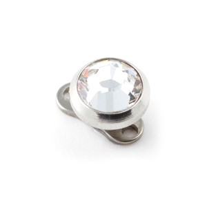 White Strass Round Top for Microdermal Piercing