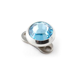 Turquoise Blue Strass Round Top for Microdermal Piercing