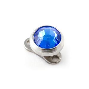 Rond Strass Bleu Marine pour Piercing Microdermal