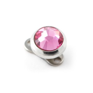 Pink Strass Round Top for Microdermal Piercing