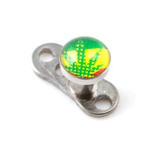 Logo Cannabis Fahne für Microdermal Piercing / Dermal Anchor