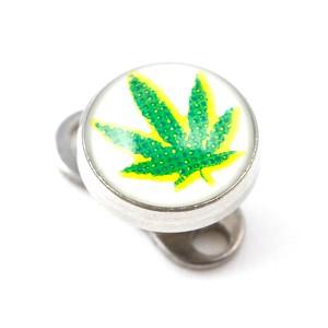 Logo Cannabis Weiß für Microdermal Piercing / Dermal Anchor