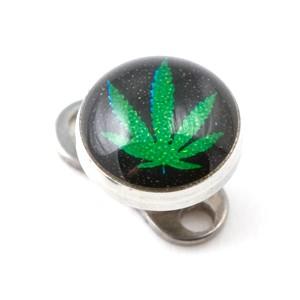 Logo Cannabis Noir pour Piercing Microdermal