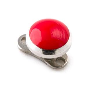 Disque Arrondi Rouge pas cher en Acier Chirurgical 316L pour Piercing Microdermal